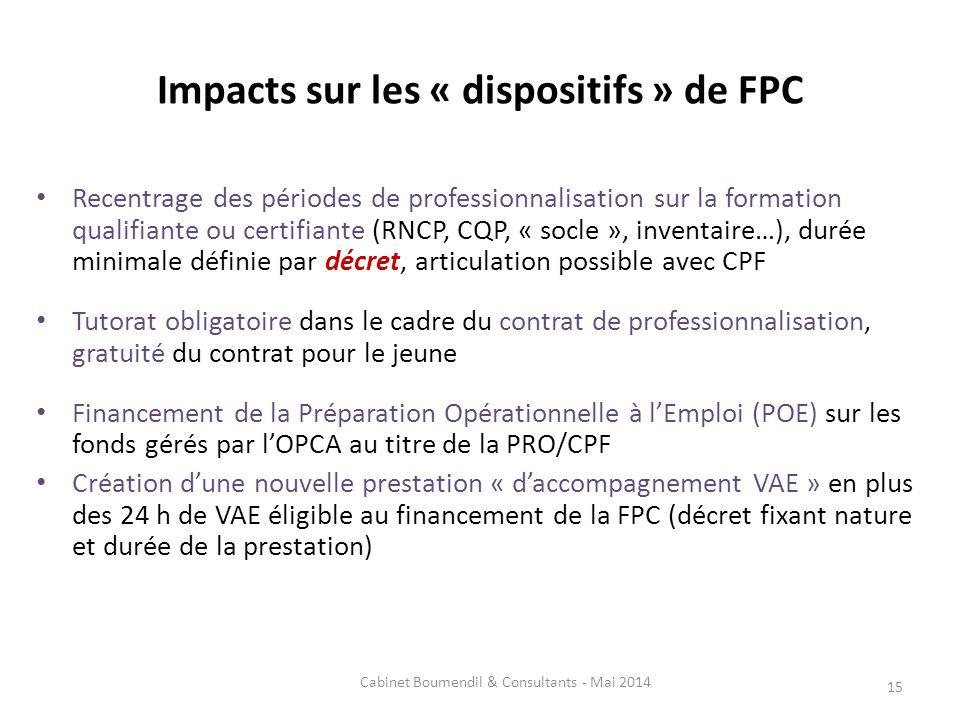 Impacts sur les « dispositifs » de FPC
