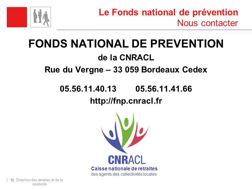 Le Fonds national de prévention Nous contacter