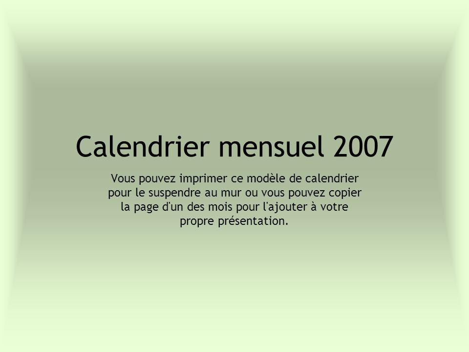 Calendrier mensuel 2007