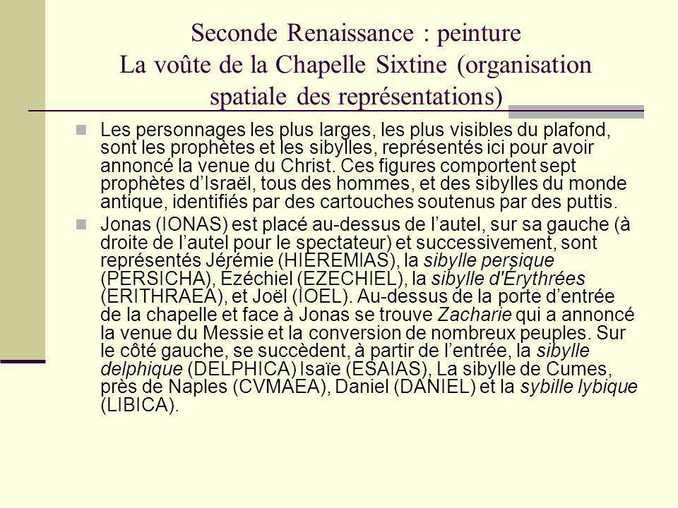 Seconde Renaissance : peinture La voûte de la Chapelle Sixtine (organisation spatiale des représentations)