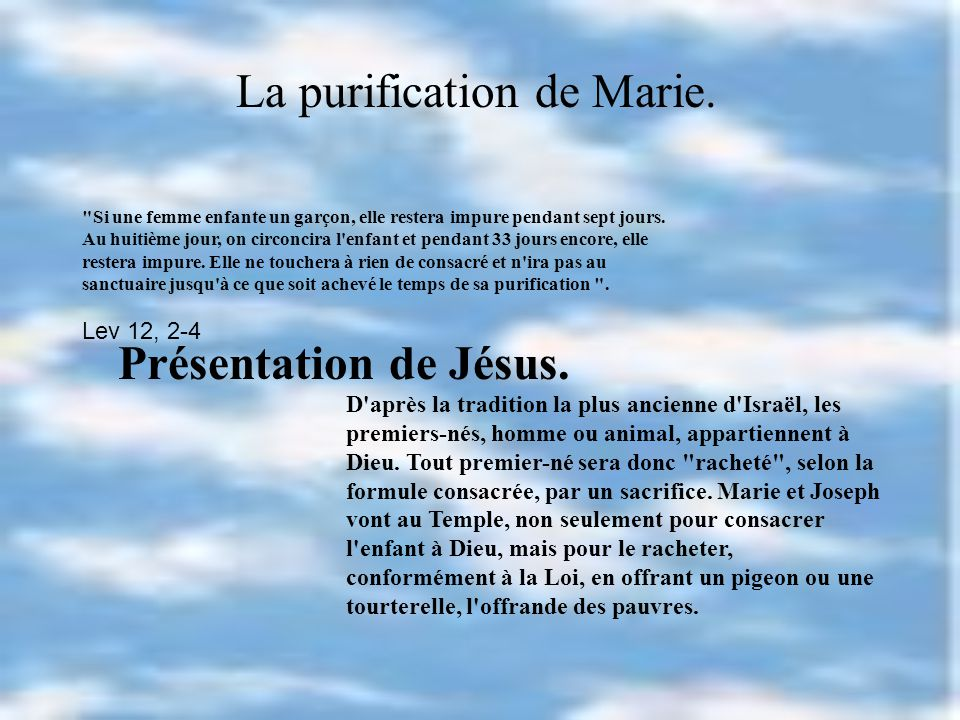 La purification de Marie.
