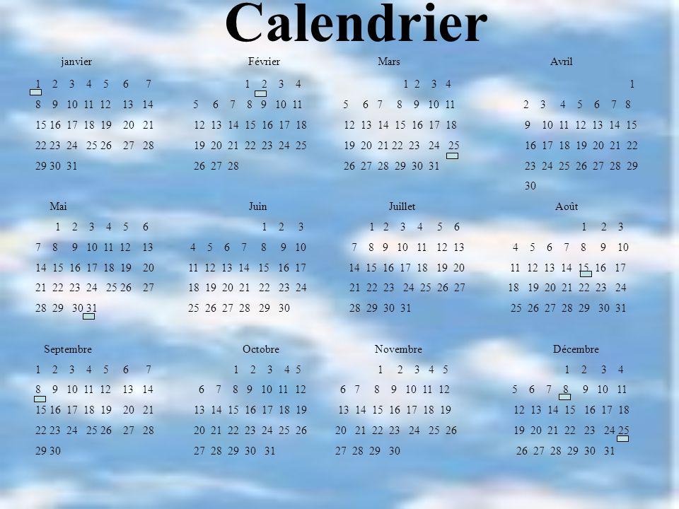 Calendrier janvier Février Mars Avril 1 2 3 4 5 6 7 1 2 3 4 1 2 3 4 1