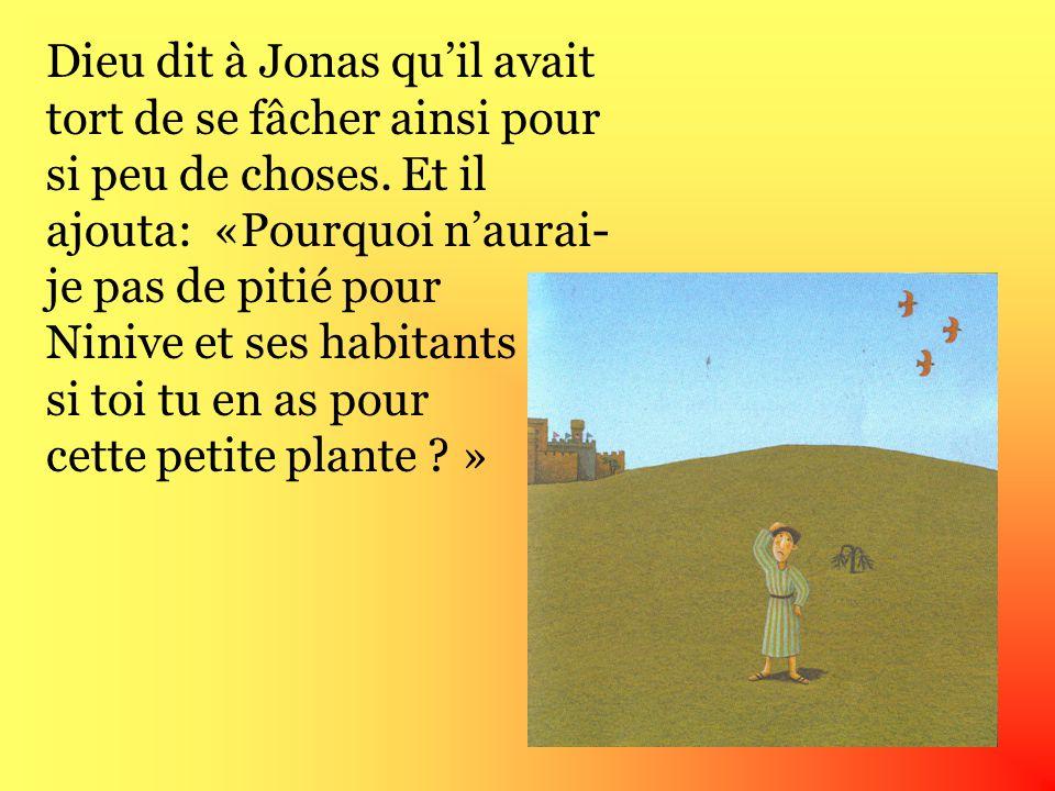 Dieu dit à Jonas qu'il avait tort de se fâcher ainsi pour si peu de choses.