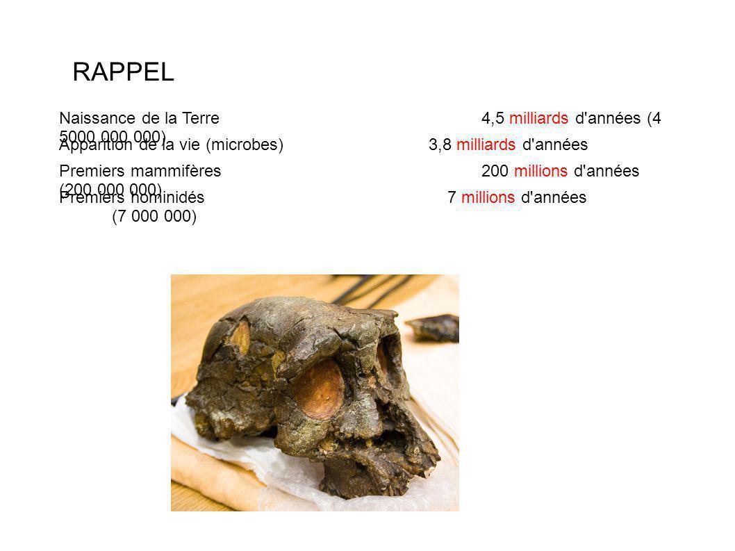 RAPPEL Naissance de la Terre 4,5 milliards d années (4 5000 000 000)