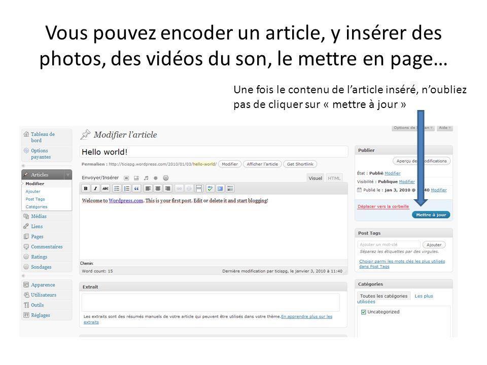 Vous pouvez encoder un article, y insérer des photos, des vidéos du son, le mettre en page…