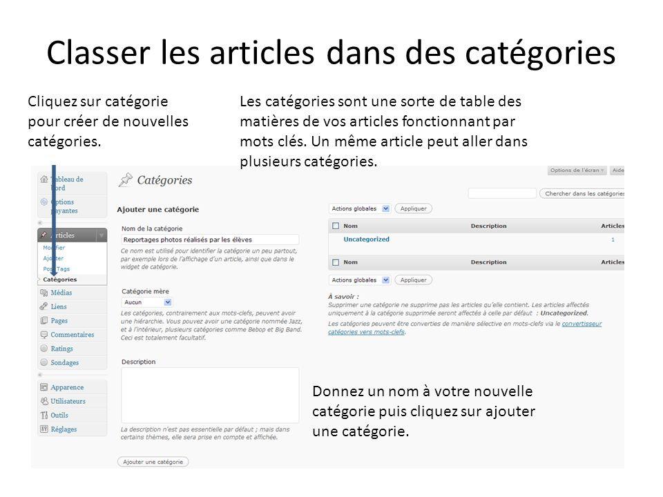 Classer les articles dans des catégories