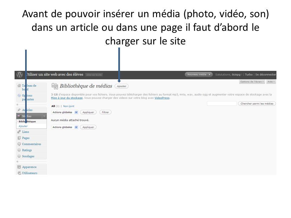 Avant de pouvoir insérer un média (photo, vidéo, son) dans un article ou dans une page il faut d'abord le charger sur le site