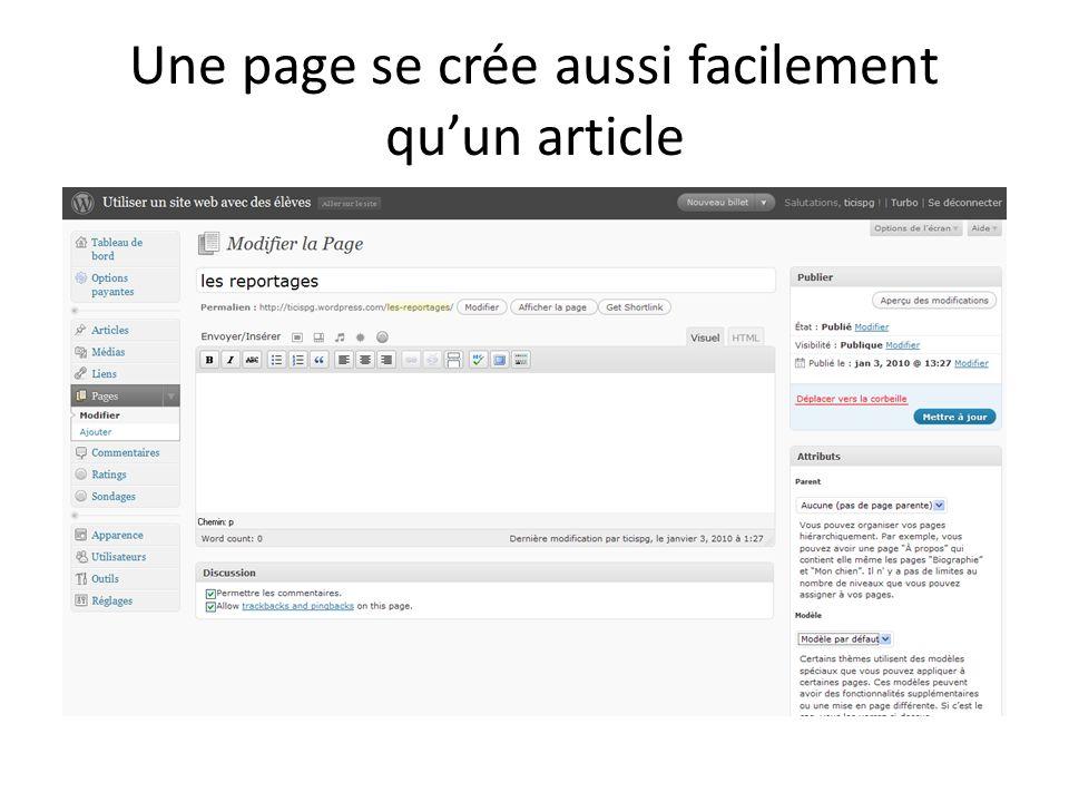 Une page se crée aussi facilement qu'un article