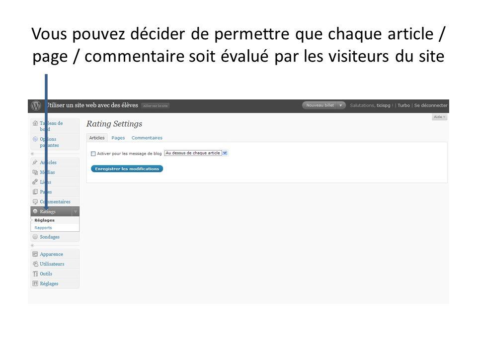 Vous pouvez décider de permettre que chaque article / page / commentaire soit évalué par les visiteurs du site