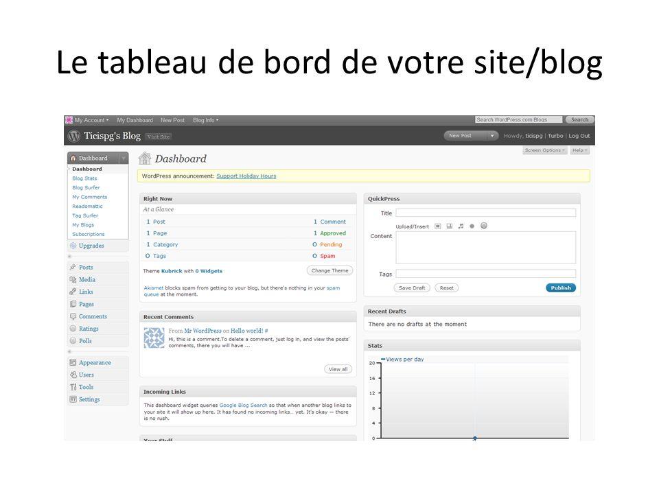 Le tableau de bord de votre site/blog