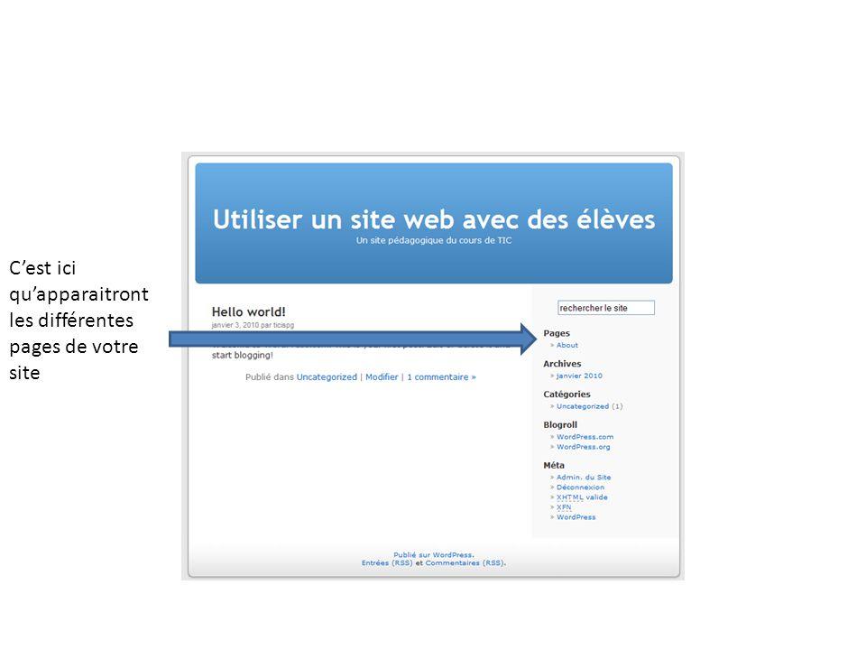 C'est ici qu'apparaitront les différentes pages de votre site