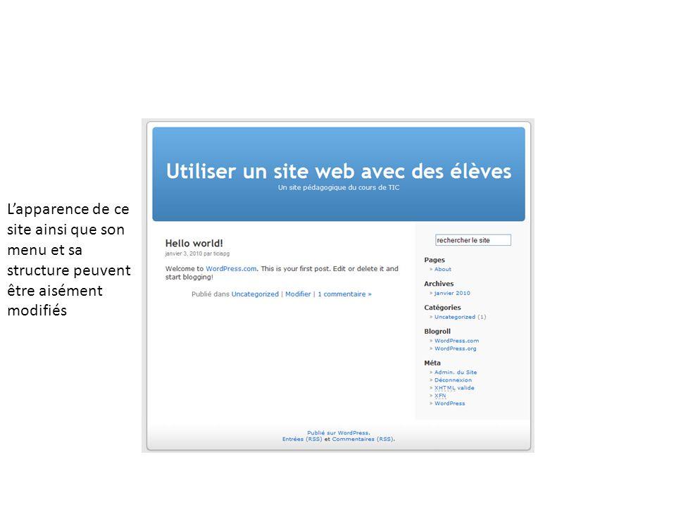 L'apparence de ce site ainsi que son menu et sa structure peuvent être aisément modifiés