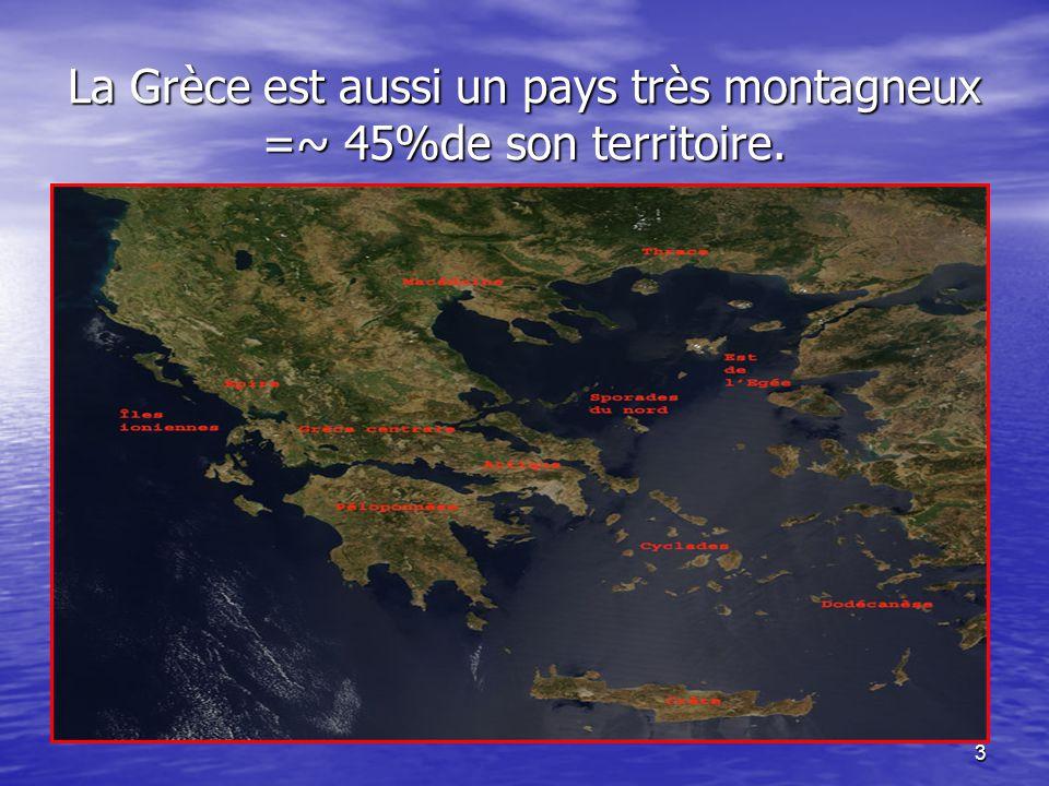 La Grèce est aussi un pays très montagneux =~ 45%de son territoire.