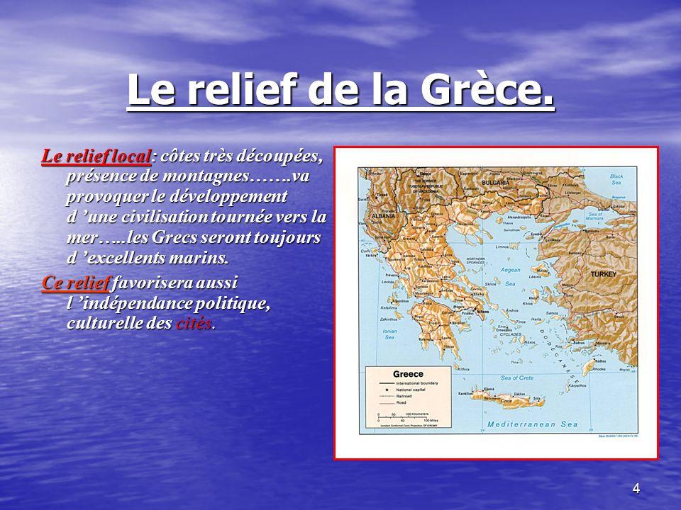 Le relief de la Grèce.