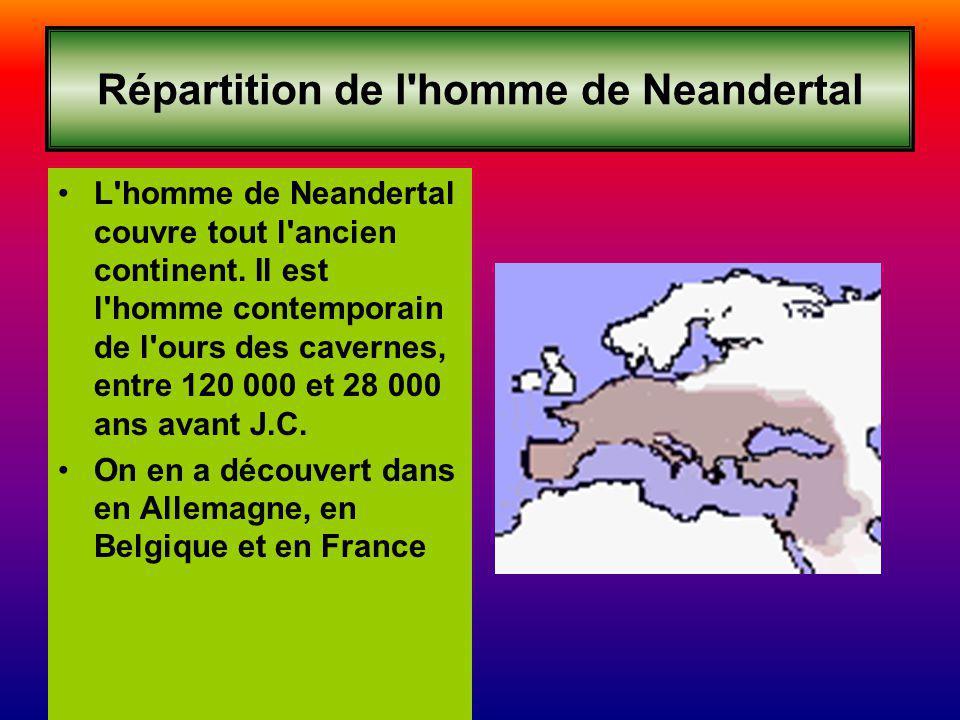 Répartition de l homme de Neandertal