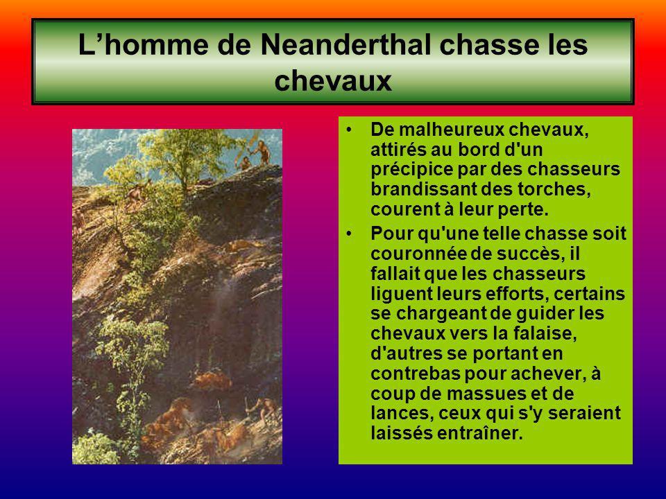 L'homme de Neanderthal chasse les chevaux