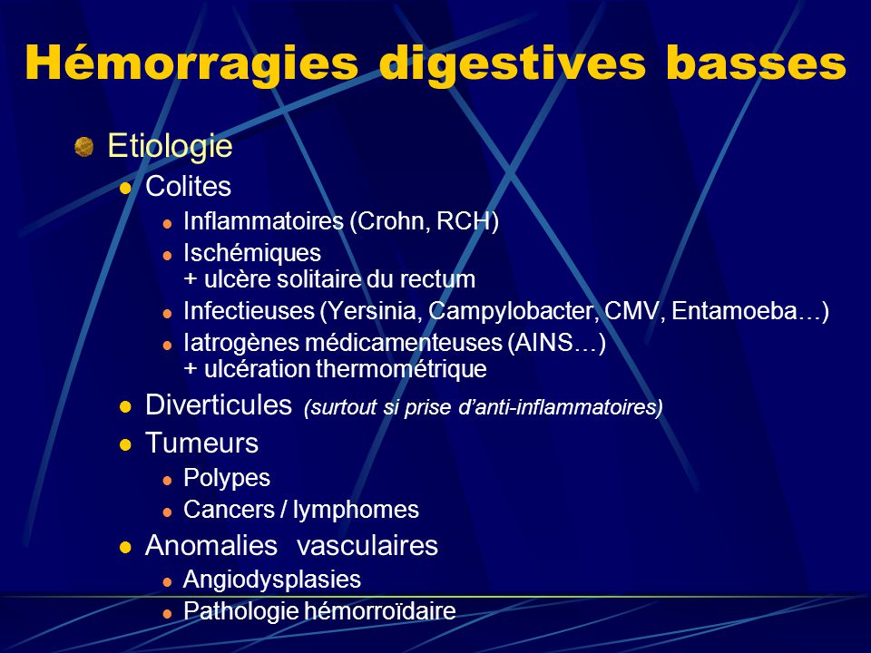 Hémorragies digestives basses