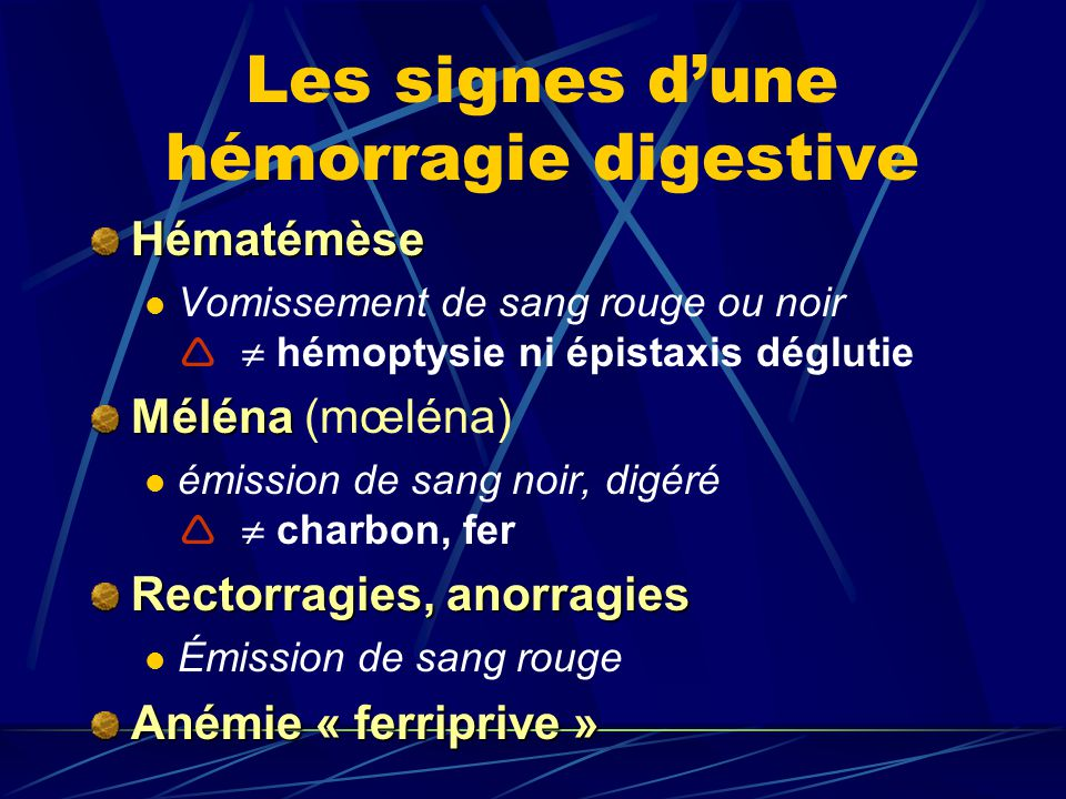 Les signes d'une hémorragie digestive