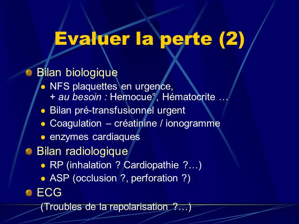 Evaluer la perte (2) Bilan biologique Bilan radiologique ECG