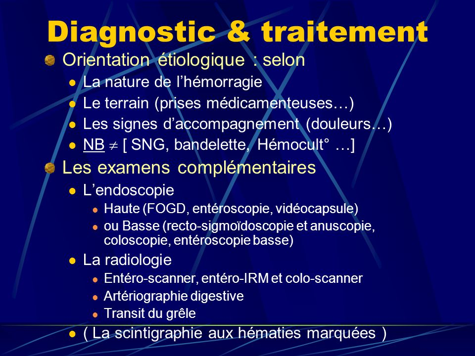 Diagnostic & traitement