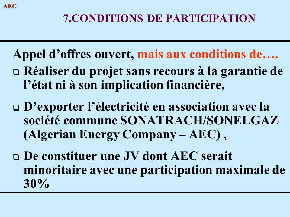 7.CONDITIONS DE PARTICIPATION