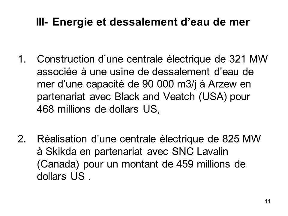 III- Energie et dessalement d'eau de mer