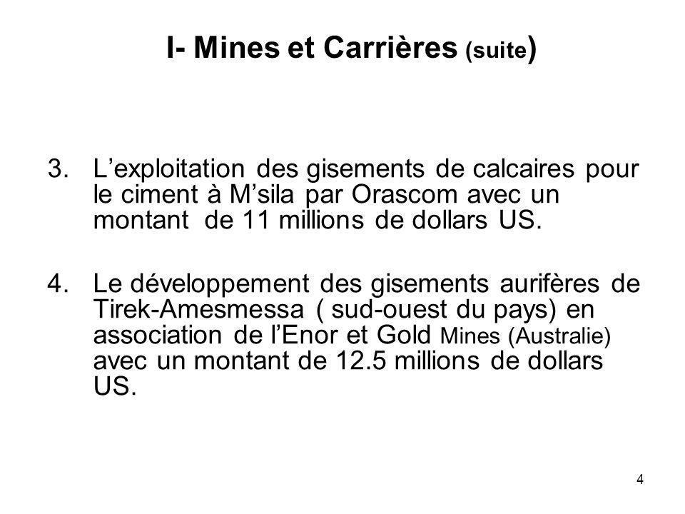 I- Mines et Carrières (suite)