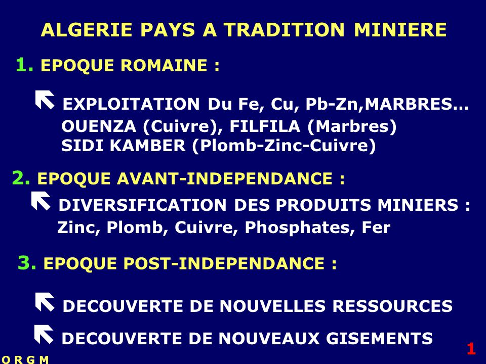  EXPLOITATION Du Fe, Cu, Pb-Zn,MARBRES…