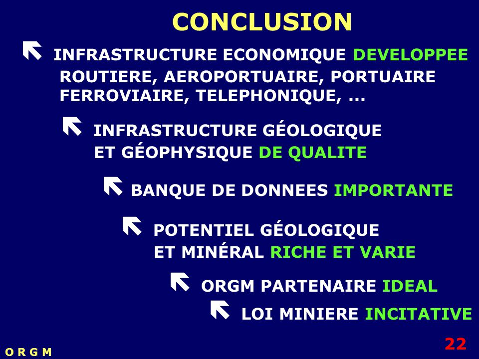  INFRASTRUCTURE ECONOMIQUE DEVELOPPEE