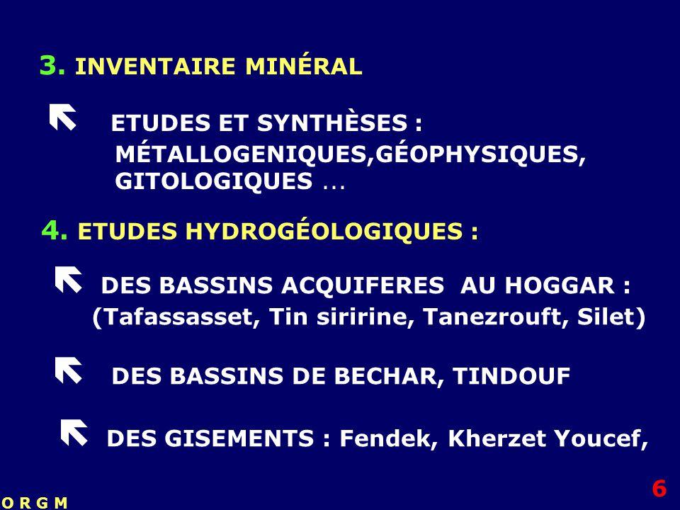  ETUDES ET SYNTHÈSES : MÉTALLOGENIQUES,GÉOPHYSIQUES, GITOLOGIQUES ...