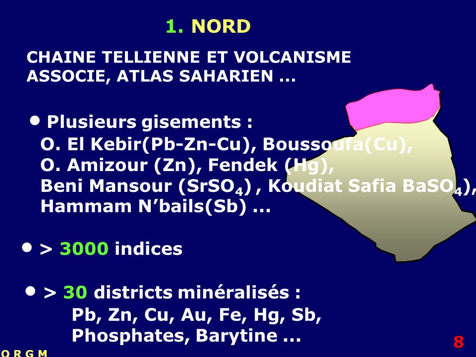  > 3000 indices 1. NORD  Plusieurs gisements :