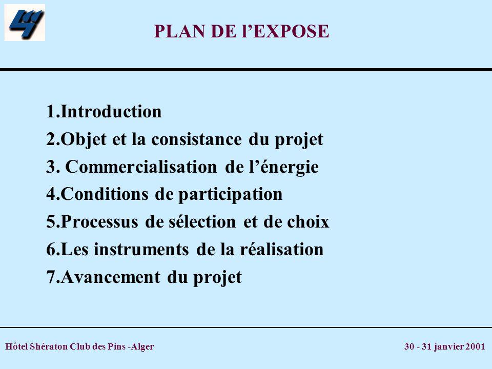2.Objet et la consistance du projet 3. Commercialisation de l'énergie