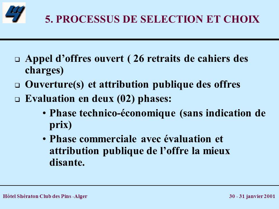 5. PROCESSUS DE SELECTION ET CHOIX