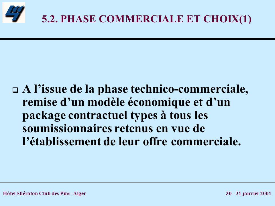 5.2. PHASE COMMERCIALE ET CHOIX(1)