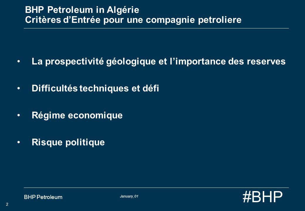 BHP Petroleum in Algérie Critères d'Entrée pour une compagnie petroliere