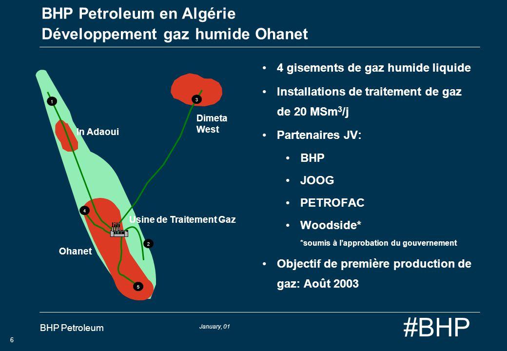 BHP Petroleum en Algérie Développement gaz humide Ohanet