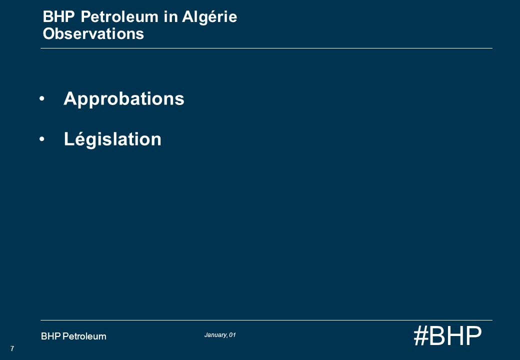 BHP Petroleum in Algérie Observations