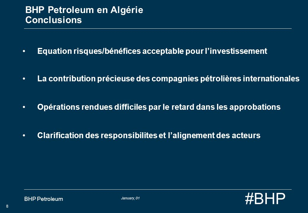 BHP Petroleum en Algérie Conclusions