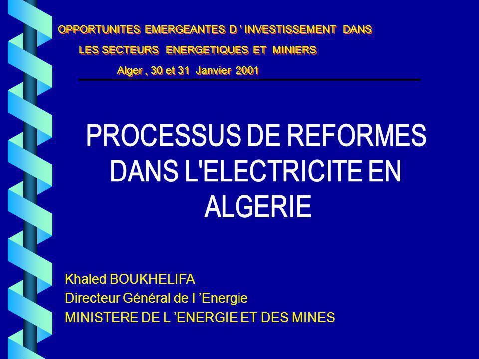 Directeur Général de l 'Energie MINISTERE DE L 'ENERGIE ET DES MINES
