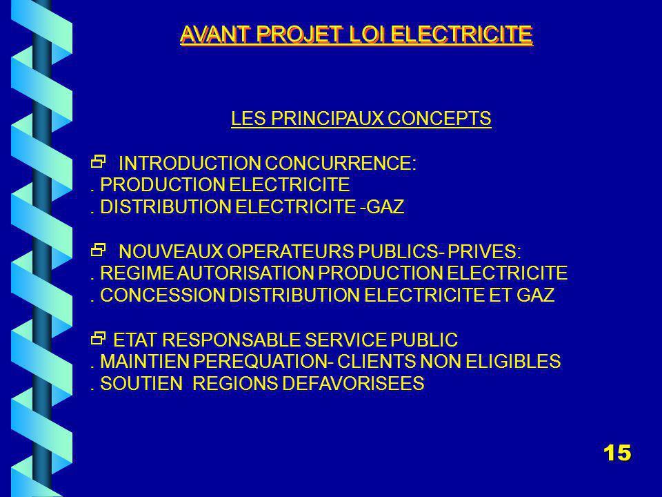 AVANT PROJET LOI ELECTRICITE