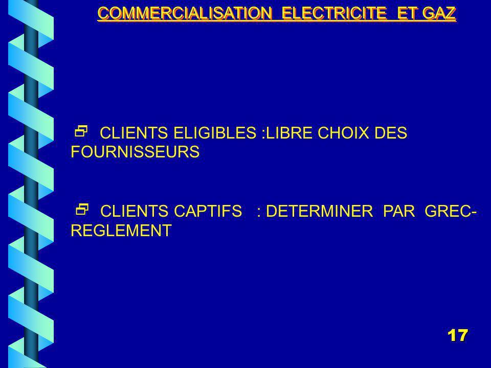 COMMERCIALISATION ELECTRICITE ET GAZ