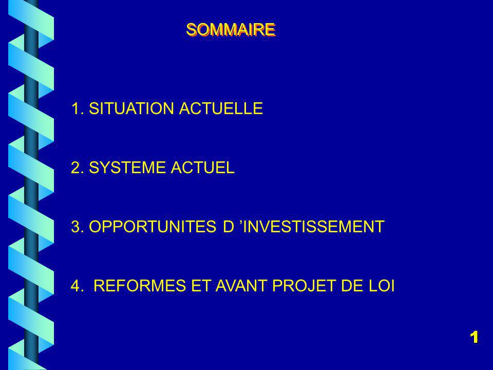 SOMMAIRE 1. SITUATION ACTUELLE. 2. SYSTEME ACTUEL. 3. OPPORTUNITES D 'INVESTISSEMENT. 4. REFORMES ET AVANT PROJET DE LOI.
