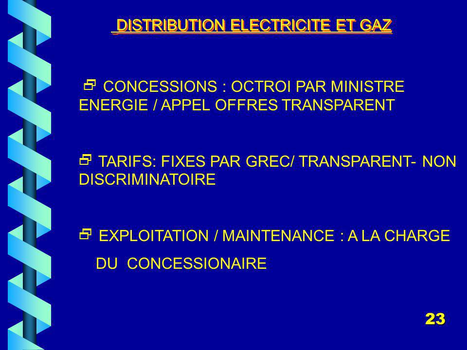 DISTRIBUTION ELECTRICITE ET GAZ