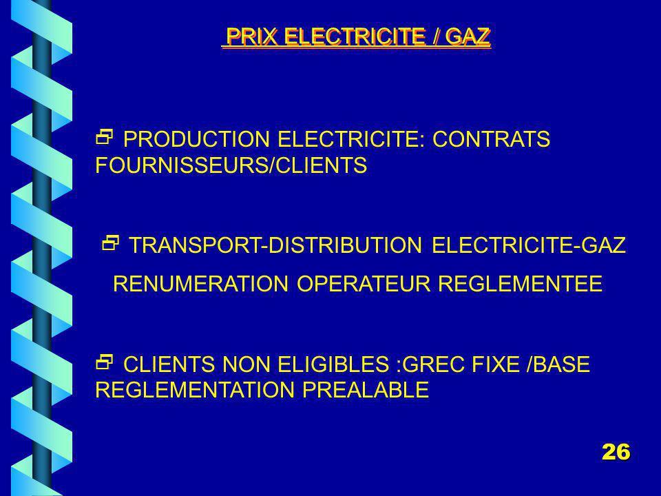  PRODUCTION ELECTRICITE: CONTRATS FOURNISSEURS/CLIENTS