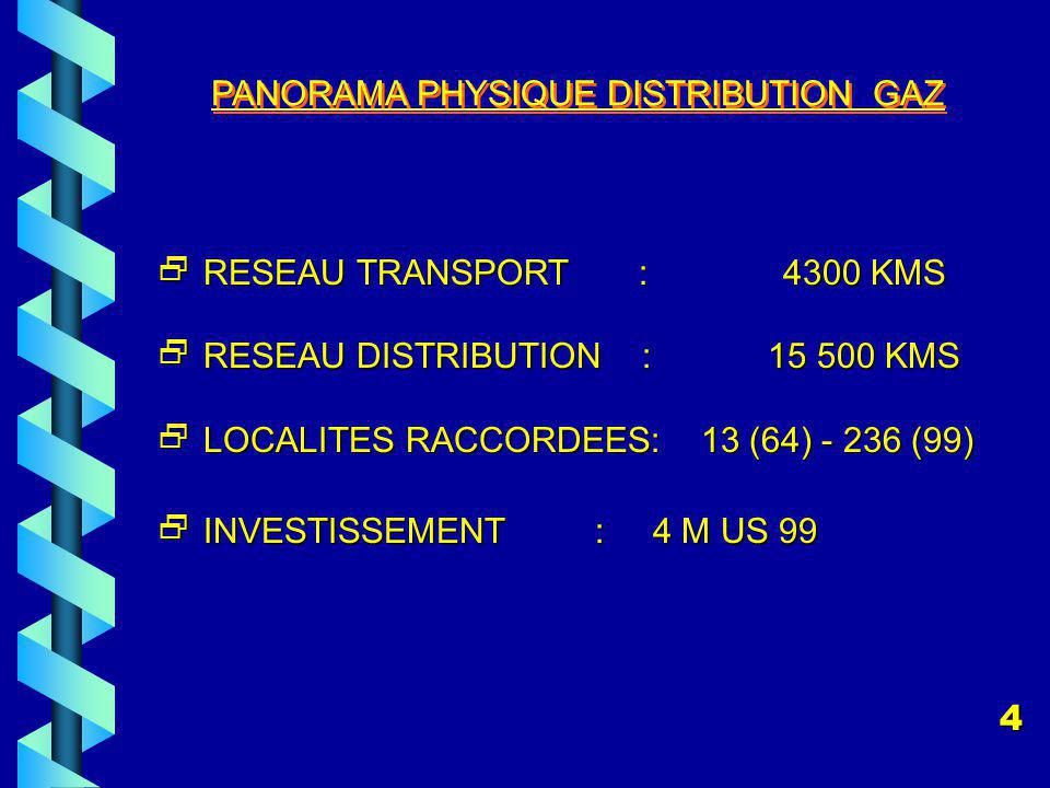 PANORAMA PHYSIQUE DISTRIBUTION GAZ