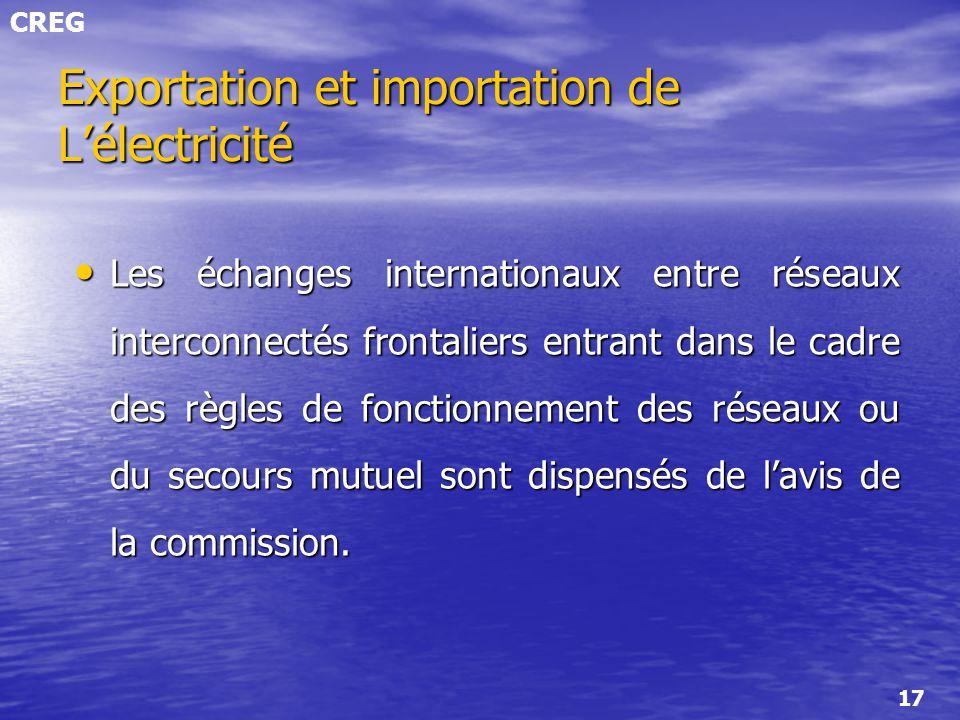 Exportation et importation de L'électricité