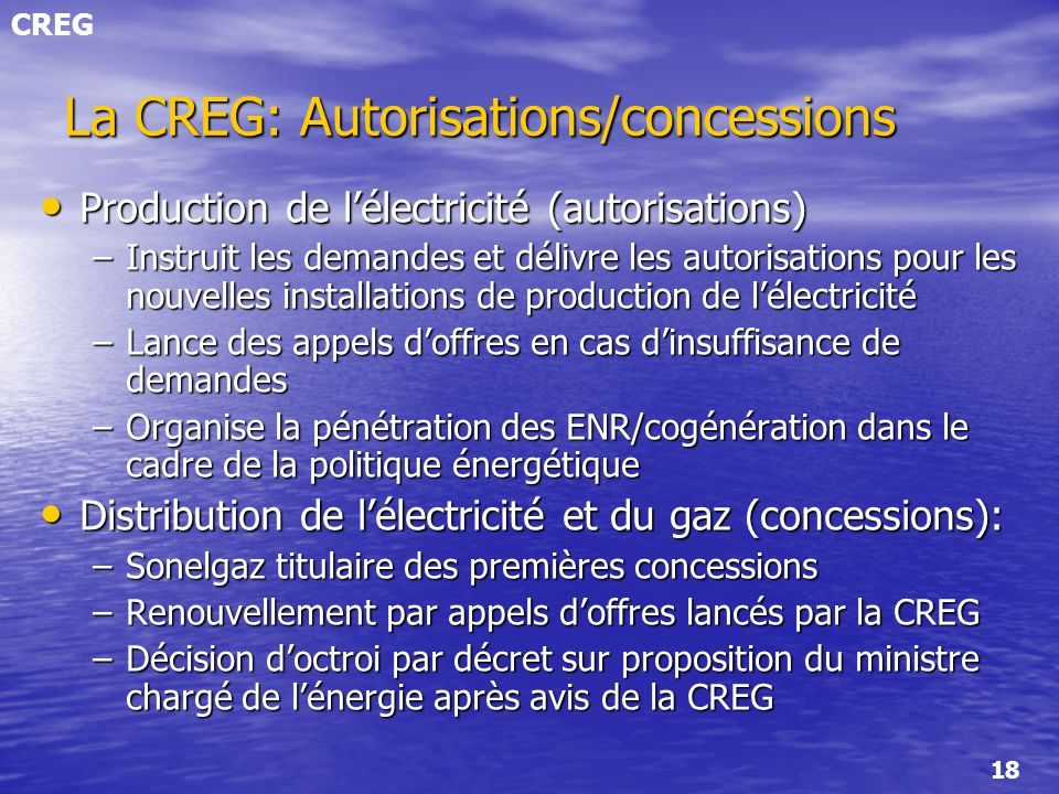 La CREG: Autorisations/concessions