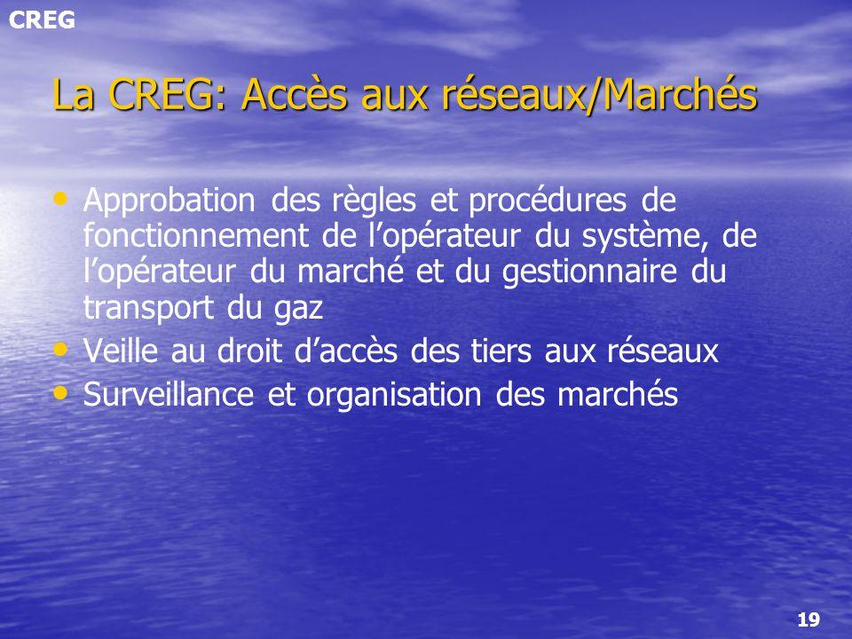 La CREG: Accès aux réseaux/Marchés