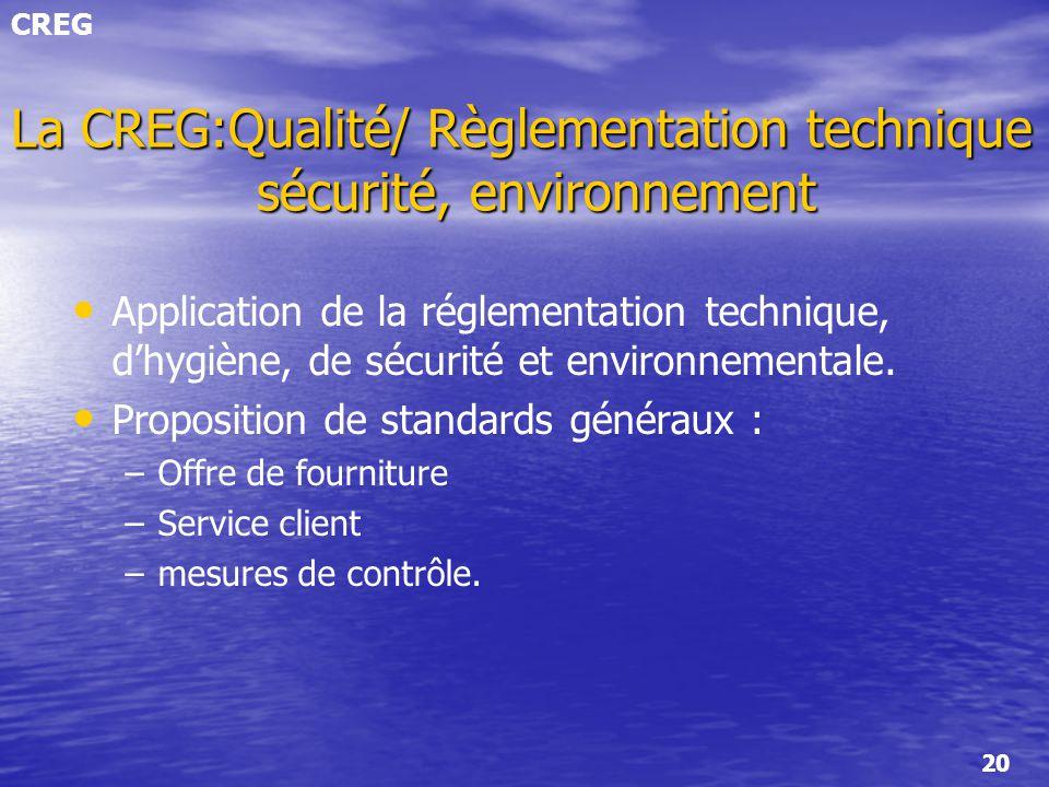 La CREG:Qualité/ Règlementation technique sécurité, environnement