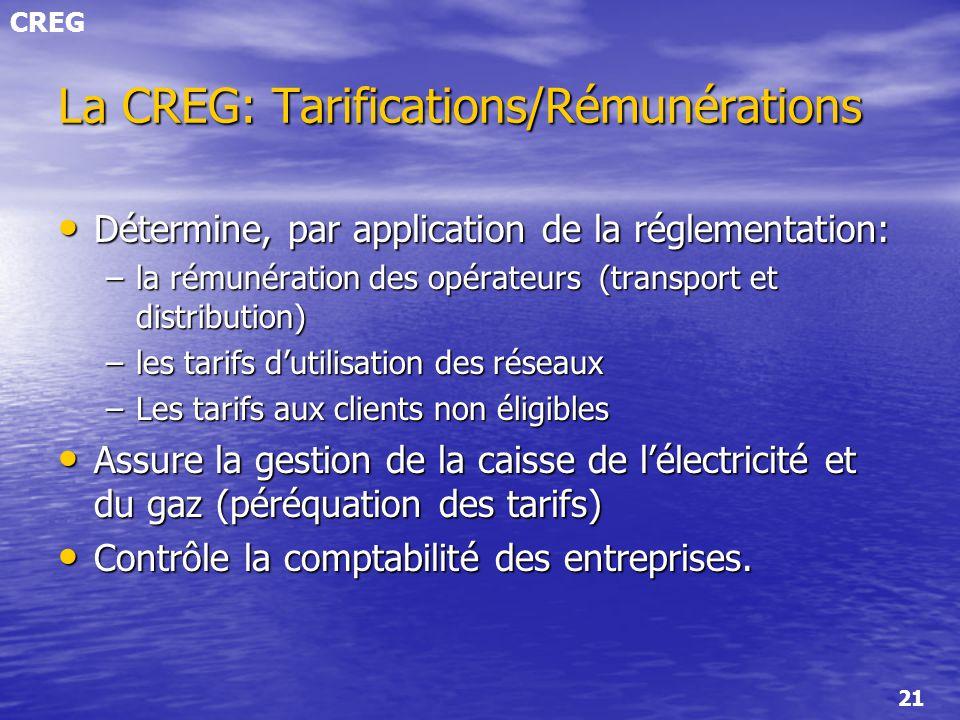 La CREG: Tarifications/Rémunérations